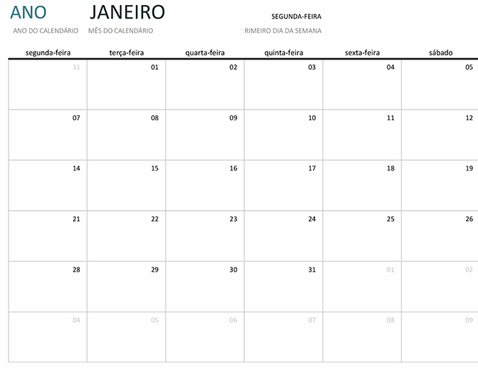 Calendário de um mês para qualquer ano