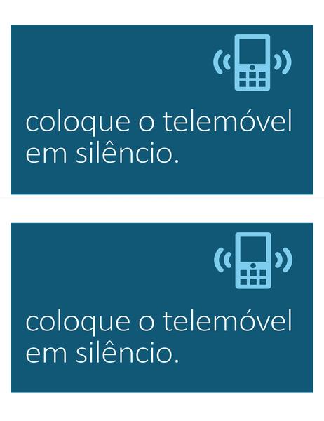 Aviso para colocar o telemóvel no silêncio (2 por página)