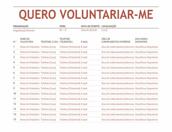 Folha de inscrição de voluntário