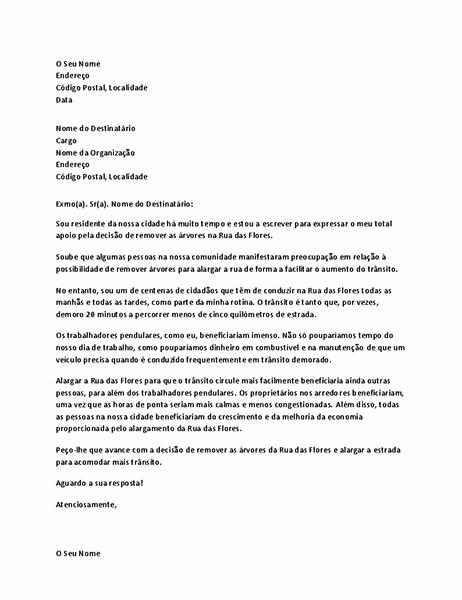 Carta de apoio ao município