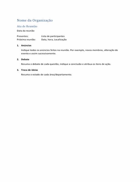 Atas de reunião (versão breve)
