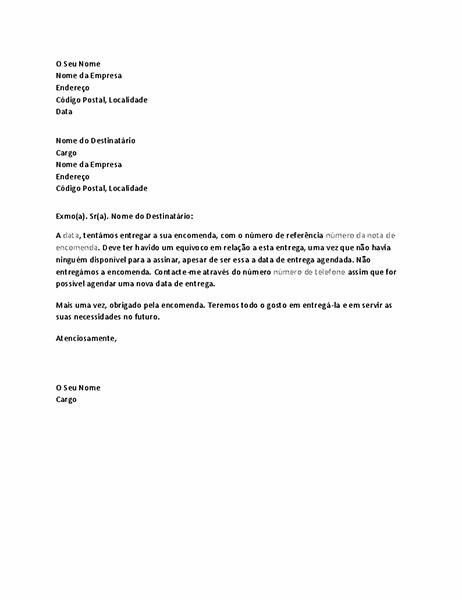Carta a notificar o cliente de uma entrega em falta