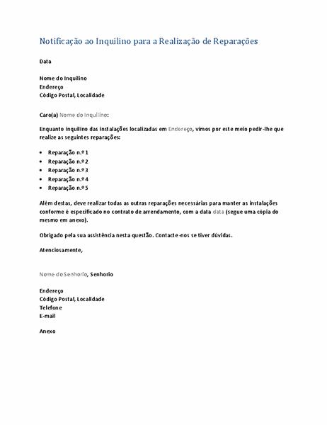 Notificação ao inquilino para a realização de reparações (carta de formulário)
