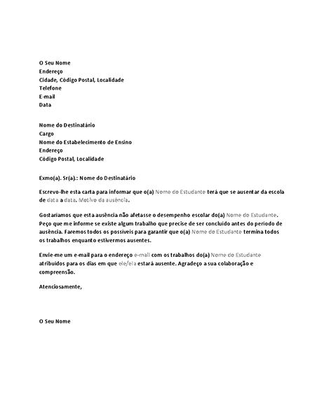 Carta de notificação à escola acerca da futura ausência do estudante