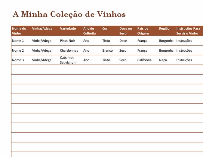 Lista de coleção de vinhos