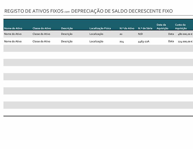 Registo de ativos fixos com depreciação de saldo decrescente fixo