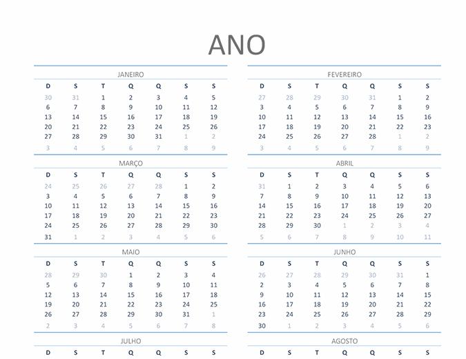 Calendário para qualquer ano (segunda a domingo)