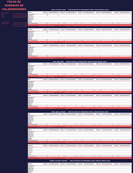 Folha de horas dos colaboradores (semanal, mensal e anual)