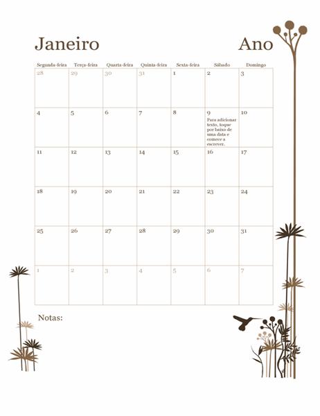 Calendário de 12 meses (segunda-feira a domingo) com um beija-flor