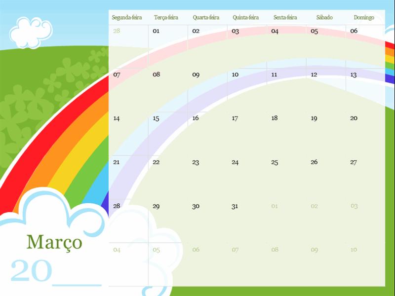 Calendário sazonal ilustrado (segunda-feira a domingo)