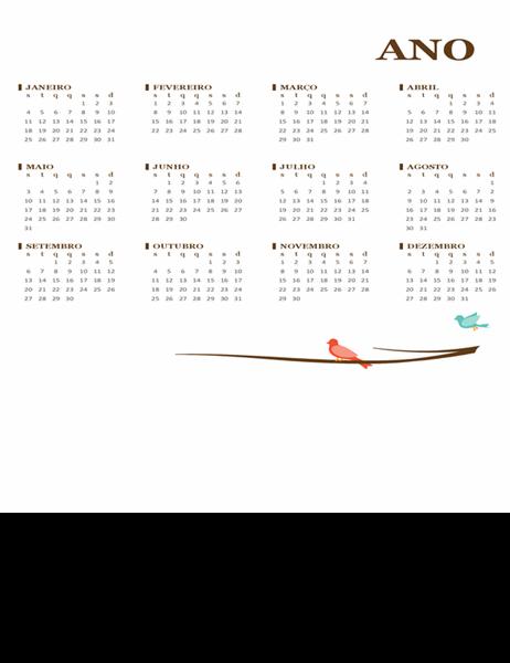 Calendário anual (segunda-feira a domingo) com pássaros
