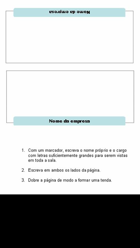 Cartões de nome para reuniões (3 dobras)