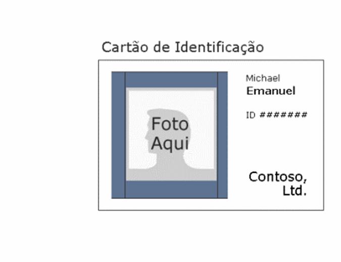 Cartão de identificação do empregado (horizontal)