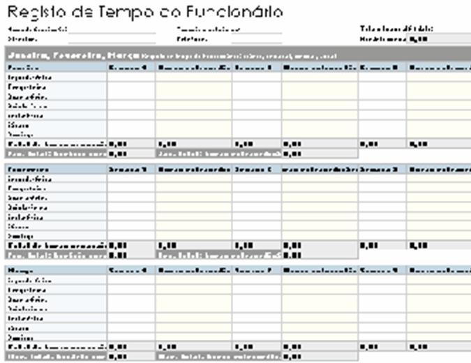 Registo de tempo do funcionário (diário, semanal, mensal e anual)