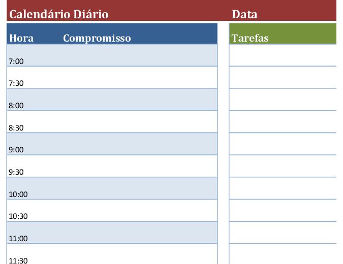 Calendário diário em branco