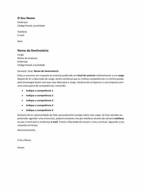 Carta de apresentação para resposta a um anúncio de emprego