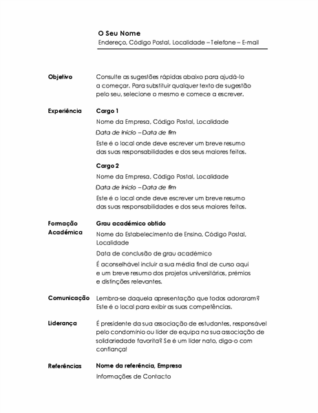 Currículo cronológico (design Minimalista)