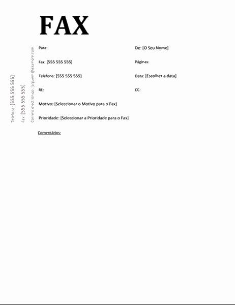 Página de rosto de fax (desenho Académico)
