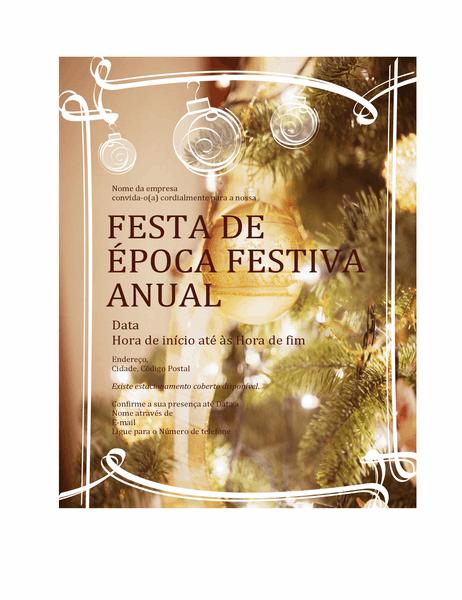 Convite para festa de época festiva