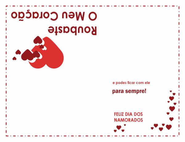 Cartão do Dia dos Namorados (design em coração, dobrado em quatro)