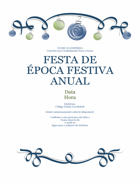 Panfleto de festa de época festiva com ornamentos e fita azul (design Formal)