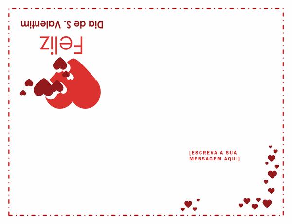 Cartão do Dia de S. Valentim (dobrado em quatro)