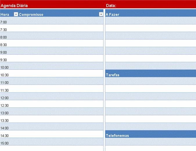 Agenda diária em branco