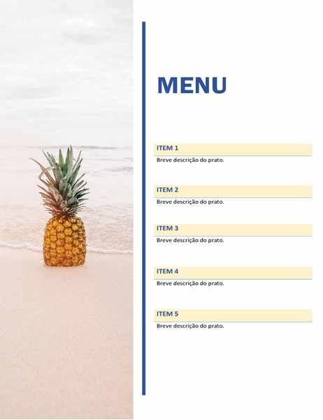 Menu de festa (design de sol e areia)