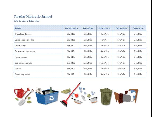 Lista de verificação de tarefas domésticas para crianças