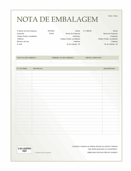 Nota de embalagem (design Gradação Verde)