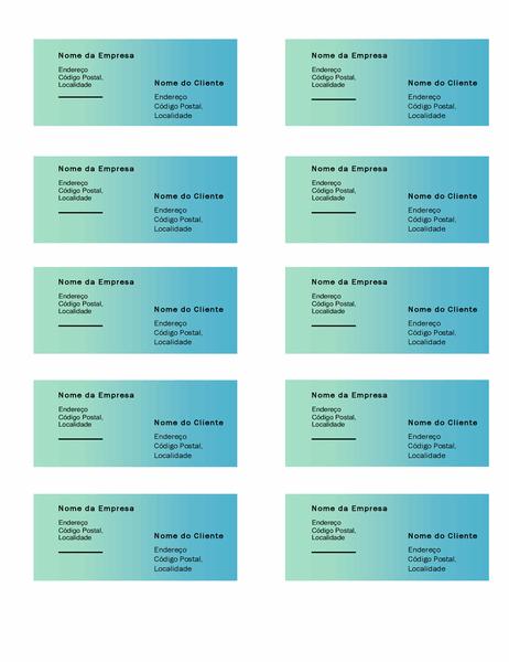 Etiquetas de envio (design Gradação Verde, 10 por página, funciona com o modelo Avery 5163)