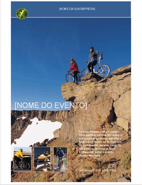 Panfleto para evento de desporto ao ar-livre