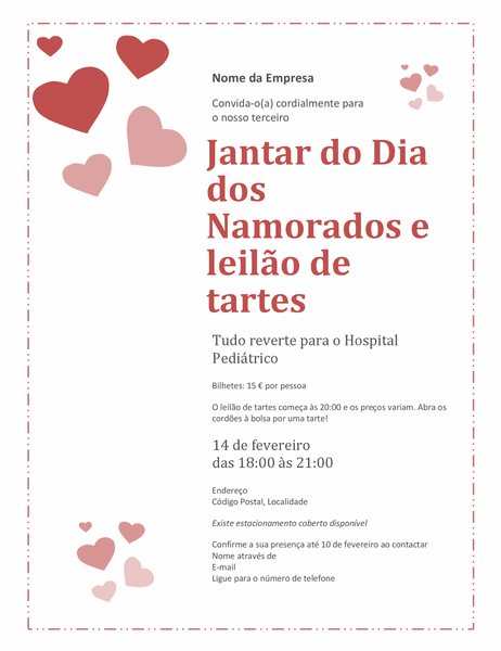 Convite de jantar do Dia dos Namorados e leilão de tartes