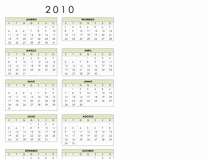 Calendário de 2010 (1-pág., vertical, Seg-Dom)