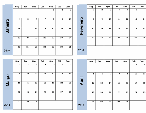 Calendário de 2010 com limite azul (3 págs, Seg-Dom)