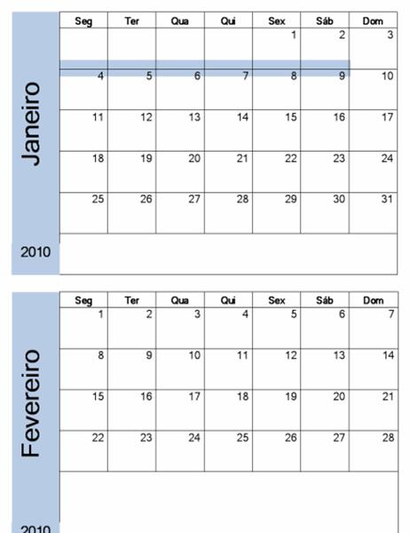 Calendário de 2010 com limite azul (6 págs, Seg-Dom)