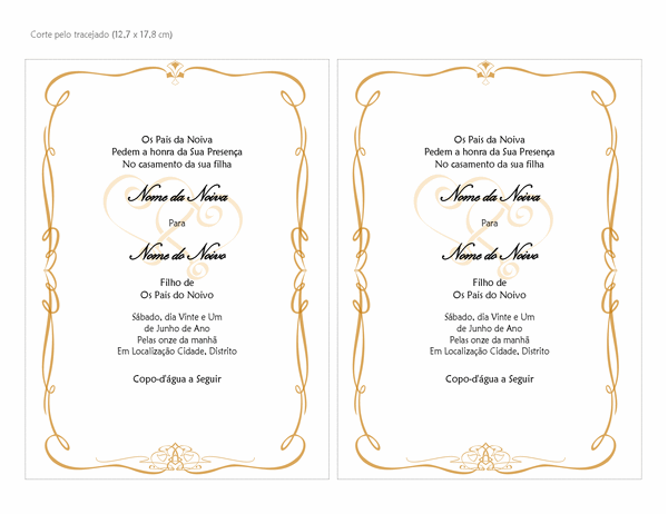 Convites de casamento (design de Corações Ornamentais, tamanho A7, 2 por página)