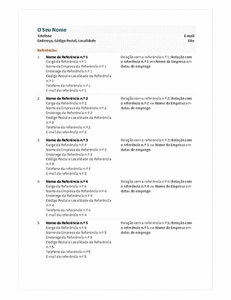 Folha de referências de currículo funcional
