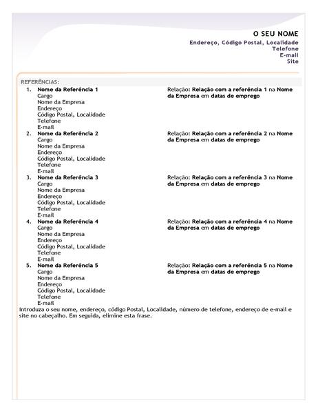 Folha de referências de currículo sem experiência