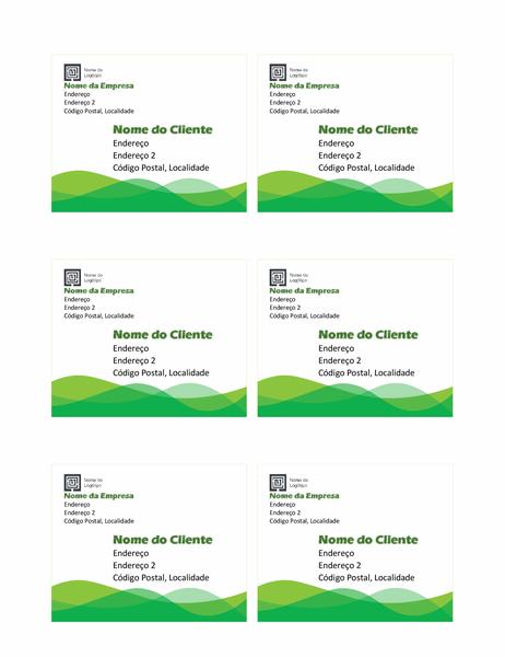 Etiquetas de envio (design Onda Verde, 6 por página)