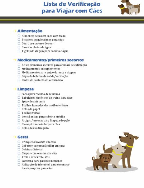 Lista de verificação para viagem com cão