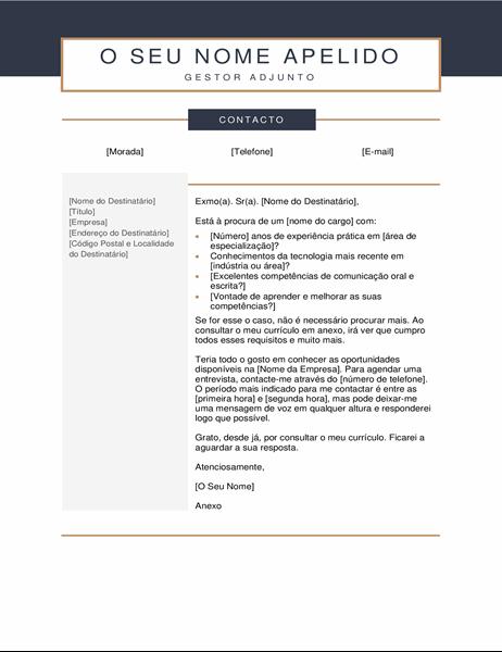 Carta de apresentação minimalista