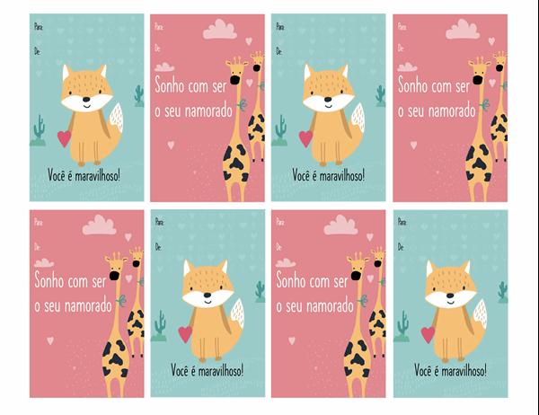 Cartões do Dia de S. Valentim para crianças