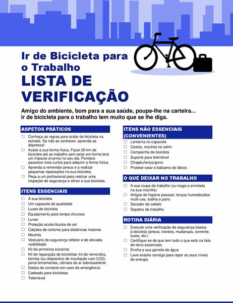 Lista de verificação para trajeto diário de bicicleta
