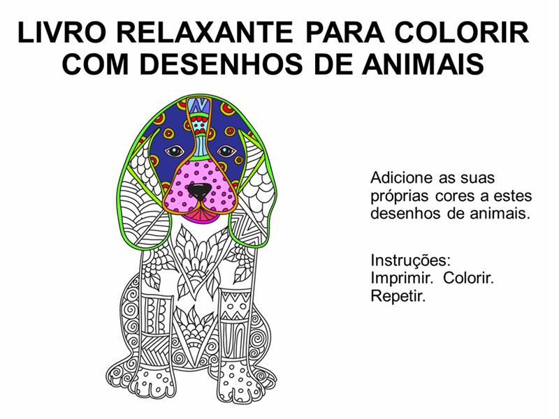Livro relaxante para colorir com desenhos de animais