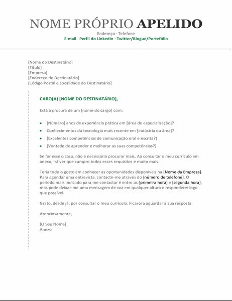 Carta de apresentação cronológica moderna