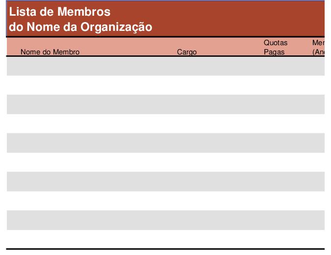 Lista de membros