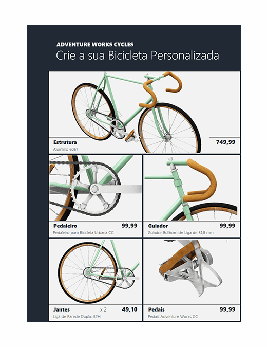 Catálogo de produtos do Excel em 3D (Modelo de bicicleta)