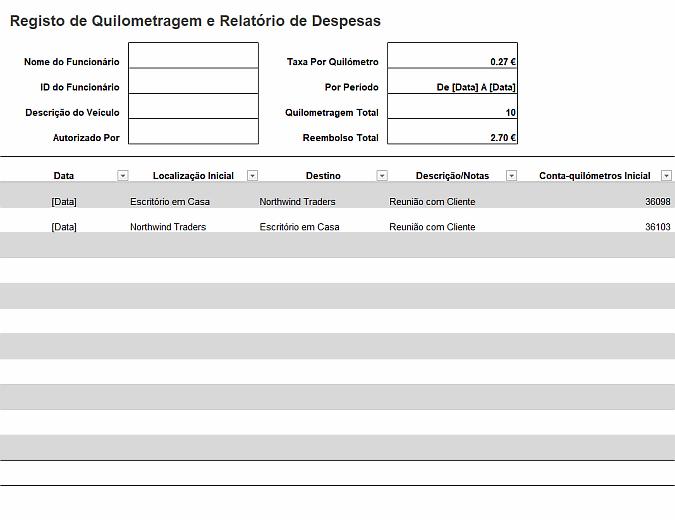 Registo de quilometragem e relatório de despesas