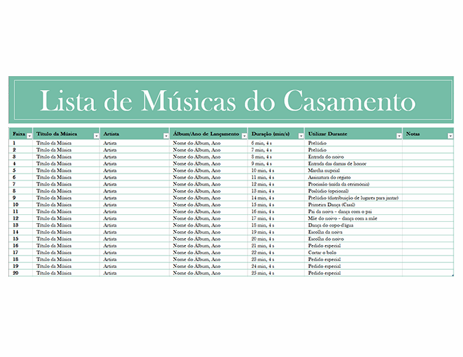 Lista de músicas do casamento